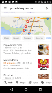 local SEO pizza near me