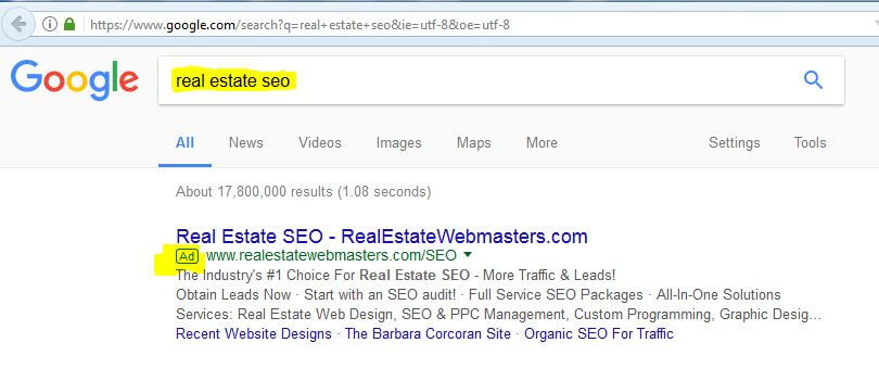 example of google PPC ad