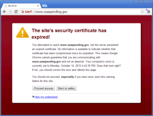 SSL certificate expired warning